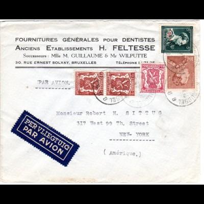 Belgien 1948, 5 Marken auf Firmen Luftpost Brief V. Brüssel n.USA