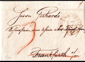 GB 1801, roter K2 FOREIGN OFFICE 47 auf Brief v. London n. Schierstein am Rhein