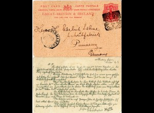 GB 1900, sqaured circle FOREST GATE S.O. auf 1d Ganzsache n. Pirmasens, Bayern