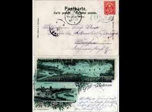 Bayern 1899, Schiffspost-K1 LIND-RHORN auf Bodensee Litho-AK m. Schweiz 10 C.