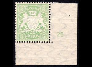 Bayern Nr. 70**, postfrische 5 Mk. Wappen m. Bogeneckrand u. Plattennummer 26