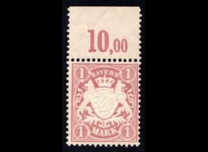 Bayern Nr. 71**, postfrische 1 Mk. Wappen m. oberem Bogenrand