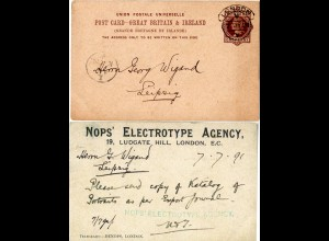 GB 1891, 1d Ganzsache m. rücks. Zudruck v. London n. Leipzig