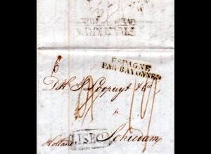 Portugal 1825, Porto Brief v. Lisboa i.d. NL m. Holland-L2 FRANKRYK OVER BERGEN