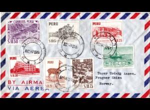 Peru 1954, 7 Marken auf attraktivem Luftpost Brief v. Lima n. Norwegen