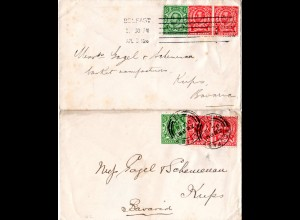 Irland 1911/12, 2 Briefe m. GB Marken u. versch. BELFAST Stempeln n. Bayern