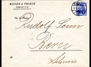DR 1908, 20 Pf. m. perfin Firmenlochung auf Brief v. Berlin i.d. Schweiz