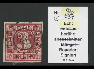 Bayern 9b, 3 Kr. m. oMR 637 SAAL. Rechts berührt, geprüft Sem. #2936