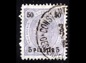 Österreichische Post Levante, sauber gest. 5 Piaster/50 Kreuzer