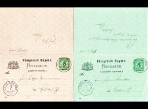 Bayern 1899, zus.hängend hin u. her gebr. 5 Pf. Doppelkarte Edenkoben-Hassloch