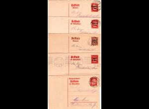 Bayern 1919/20, 5 versch. Frage- u. Antwort- Ganzsachen