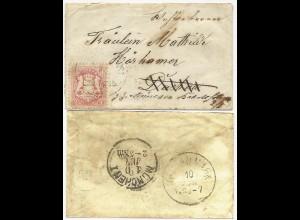 Bayern, 3 Kr. auf Bahnpost Brief n. Dachau, von da Nachsendung n. München. #2116