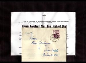 Österreich 1953, 30 G. auf Falt Trauer Brief v. St. Pölten