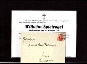 Österreich 1953, 30 G. auf Falt Trauerbrief v. St. Pölten