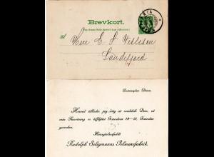 Norwegen 1908, 5 öre Ganzsache v. Kristiania m. rs. Pelzwaren Fabrik Zudruck