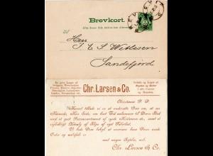 Norwegen 1895, 5 öre Ganzsache v. BREVIK m. rs. Bekleidungs Fabrik Zudruck