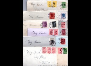 Österreich 1922/24, 13 Briefe m. Inhalt u. versch. Frankatuern v. St. Pölten