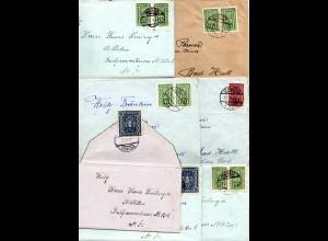 Österreich 1922, Korrespondenz v. 7 Briefen zwischen St. Pölten u. Bad Hall