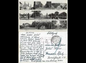 Gruß aus Fürstenwalde Spree, Feldpost gebr. sw AK n. Landau m. Nachgebühr #2185