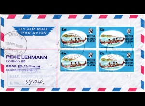 British Solomon Islands, 45 C. malaita canoe on regd. letter to Switzerland