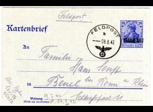 FP WK II 1942, 40 Pf. Germania Saargebiet Kartenbrief Ganzsache von FPNr. 45052