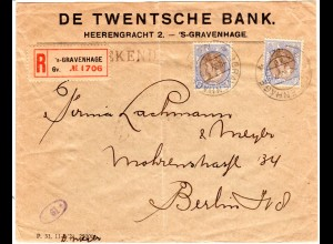 NL 1921, MeF 2x17 1/2 Ct. auf Reko Zensur Bank Brief v. s´Gravenhage n. Berlin