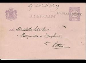 NL 1882, L1 NEERLANGBROEK klar auf 2 1/2 C. Ganzsache Karte. #1542