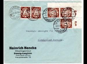 Danzig 1928, MeF 5x3 Pf. auf Firmen Brief v. Langfuhr