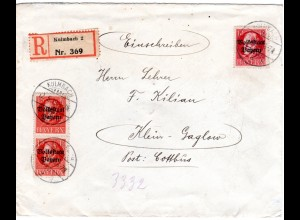 Bayern 1919, 10+2x15 Pf.+rs. 5 Pf. Volksstaat auf Einschreiben Brief v. Kulmbach