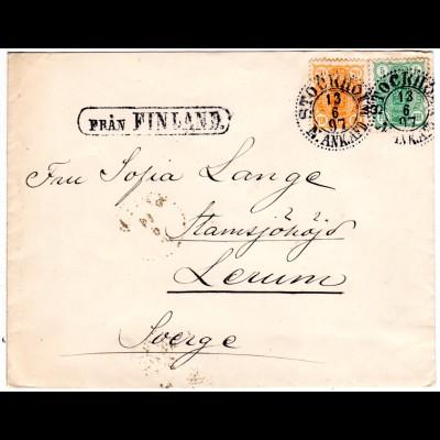 Finnland 1897, Fran FINLAND u. Stockholm auf Schiffspost Brief m. 5+20 P.
