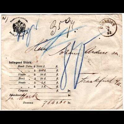 Österreich 1892, K1 DORNBIRN auf Wert Brief n.Frankfurt m. Porto 80 Pf.