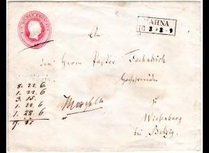 Preussen, R2 ZAHNA auf 1 SGr Ganzsache Brief n. Wiesenburg b. Betzig. Bahnpost