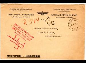 Belgien 1950, portofreier Reko Brief des Ministeriums f. Luftfahrt v. Brüssel