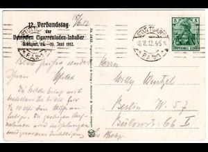 Stuttgart, Verbandstag d. Dt. Cigarrenladen-Inhaber, 1912 gebr. Sonderkarte