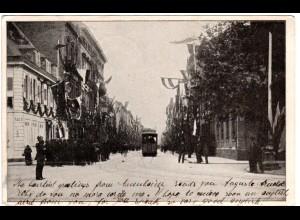 Mannheim, festlich beflaggte Strasse m. Trambahn, 1904 n. Kamerun gebr. sw-AK
