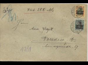 Bayern 1920, 25+75 Pf. Germania Freistaat auf Wert Brief v. Diessen. #156