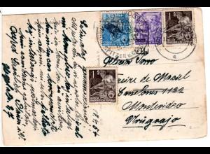 Plauen, Bahnhofstrasse m. Trambahn, 1954 m. 4 Marken n. Uruguay gebr. sw-AK