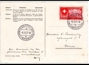Schweiz 1939, Sonderstpl. Conférence Européenne Radio Montreux auf Karte m. 20 C