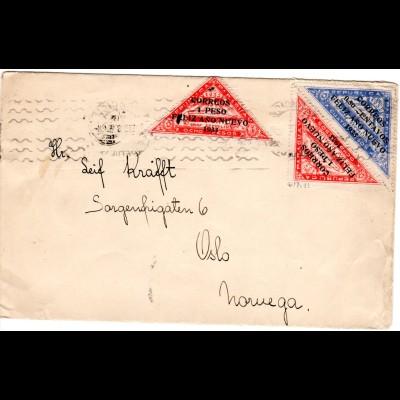 Paraguay 1933, 3 Zeppelin Marken m. Neujahrs Aufdruck auf Brief n. Norwegen