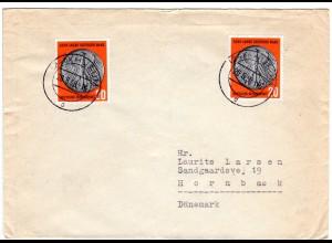 BRD 1958, MeF 2x20 Pf. Dt. Mark auf Brief v. HUSUM n. Dänemark