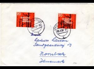 BRD 1958, MeF 2x20 Pf. Verhütet Waldbrände auf Brief v. HUSUM n. Dänemark