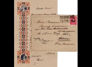 DR 1882, 10 Pf. auf illustriertem Zierbrief m. Inhalt v. R3 OLDENBURG