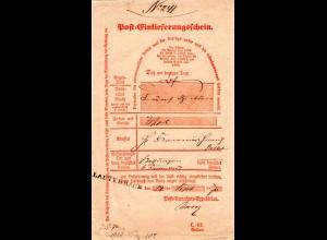 DR 1870, Taxis-L1 LAUTERBACH auf Postschein f. einen Wertbrief