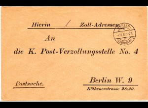 DR 1912, portofreier Postsache Brief v. Berlin-Schöneberg 1 p