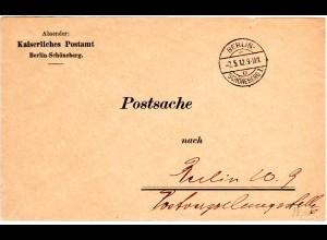 DR 1912, portofreier Postsache Brief v. Berlin-Schöneberg 1 o
