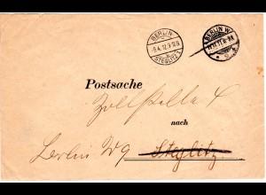 DR 1912, portofreier Postsache Brief v. Berlin W *9 k u. Berlin-Steglitz 1 k