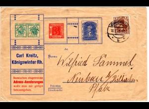 DR 1915, 3 Pf. Germania auf illustriertem Brief v. Königswinter m. Sachsen-Drei