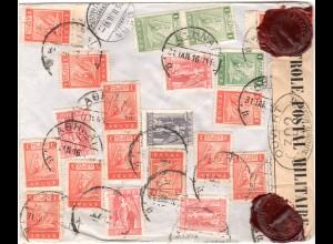 Griechenland 1916, 23 Marken rücks. auf Einschreiben Brief v. Athen i.d. Schweiz