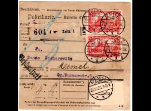 DR 1920, MeF Paar 1 Mk. auf Paketkarte v. Zeitz ins Memelgebiet