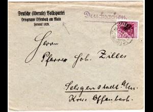 DR 1922, Dt. Volkspartei Ortsgruppe Offenbach, Vordruckumschlag m. 50 Pf.
